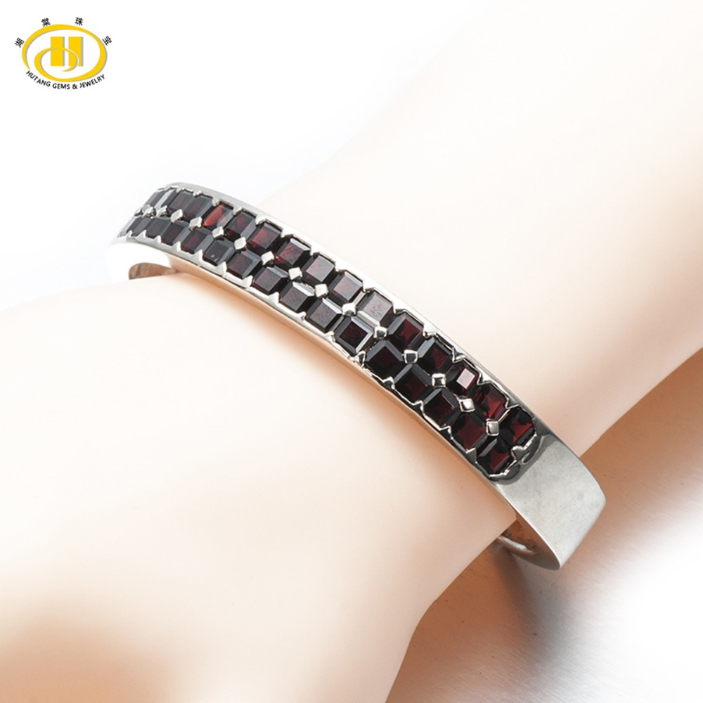 Hutang 15.36Ct Natural Black Garnet Bangle Bracelet Solid 925 Sterling Silver Real Gemstone Fine Stone Jewelry Women's Gift 7 ztung lvs1 for us trendy teardrop real zircon bracelet bangle solid 925 sterling silver gemstone fine jewelry bangle best gift