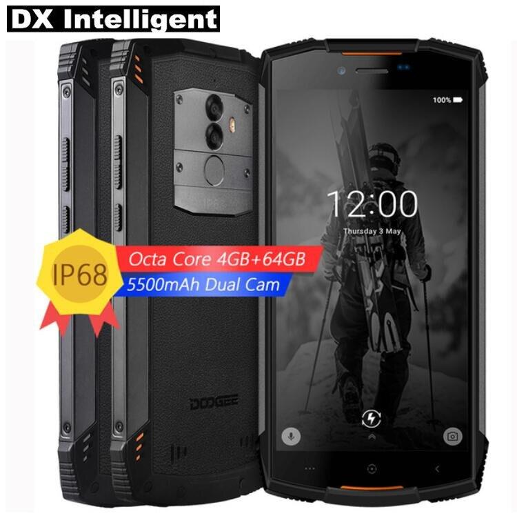 DOOGEE S55 4g LTE MTK6750T Octa Core Android 8.0 IP68 Impermeabile Del Telefono Mobile 5.5 di pollice HD 4 gb + 64 gb 13MP Dual Cam OTA di Impronte Digitali