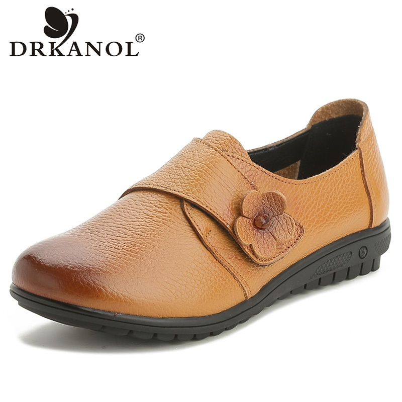 DRKANOL Genuine Leather Women Flat Casual Shoes Soft Lace Up Round Toe Loafers Woman Vintage Style Pregnant Women Shoes Size 43 men s leather shoes vintage style casual shoes comfortable lace up flat shoes men footwears size 39 44 pa005m