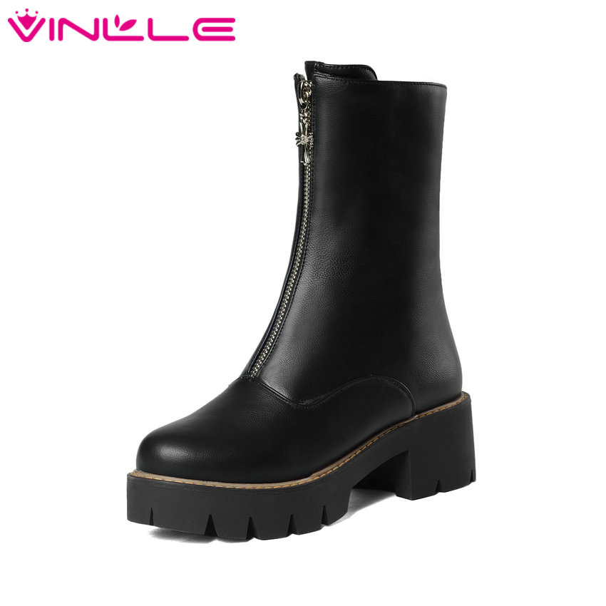 VINLLE 2016 Women Boots Zipper Pointed Toe Square Heel Solid Chains Platform Design Fashion Ladies Mid-Calf Boots Size 34-43 popular winter high quality full grain leather round toe mid calf boots size 40 41 42 43 44 chains design square heel boots