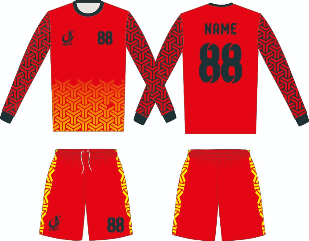 Ngift 2019 New long sleeved customized soccer goalkeeper suit long sleeved suit Full sublimation Printing goalkeeper