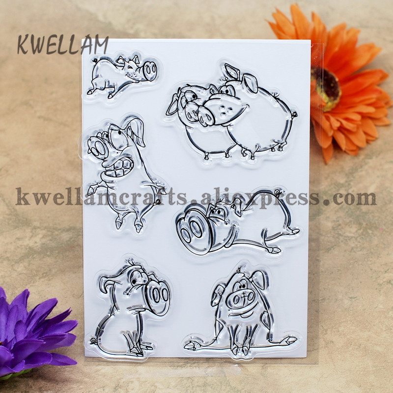 pig scrapbook diy photo cards account rubber stamp clear stamp