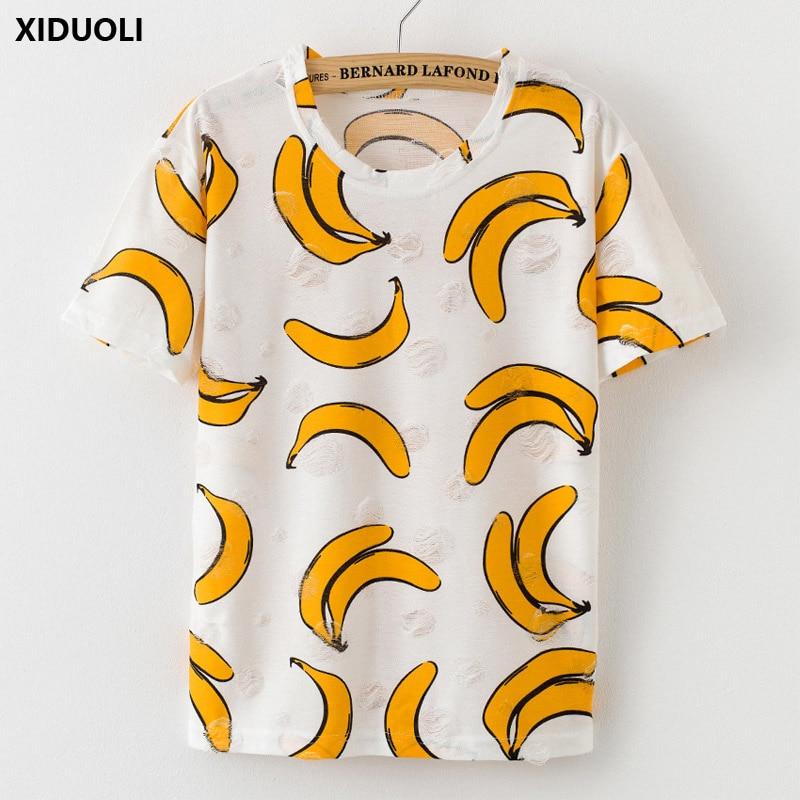 Eerlijk 2019 Zomer Mode Kwastje Ontwerp Gat T-shirt Print Verzwakte Vrouwen T Shirts Vrouw Korte Mouw Sexy Dunne Dames Tops