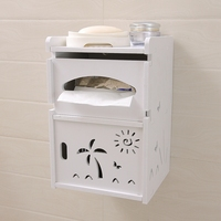Toilet tissue box free punching toilet paper roll paper tube sanitary napkin box creative wall mounted waterproof rack LO62456