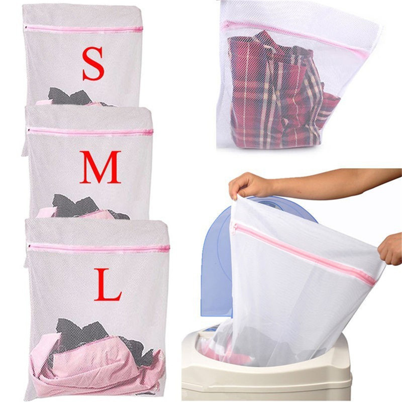 S M L Size Clothes Washing Machine Laundry Bra Aid Lingerie Mesh Net Wash Bag Pouch Basket Femme 3 Sizes Home Storage Bags