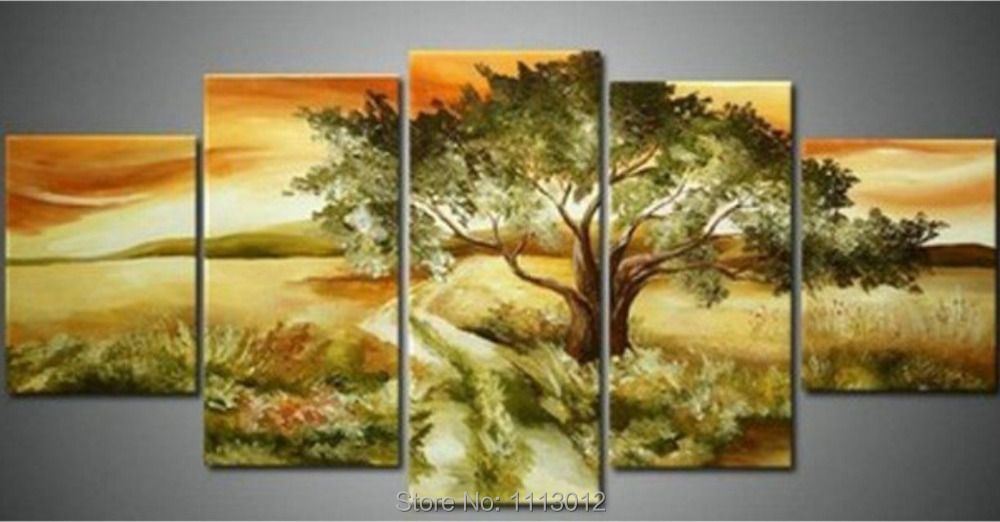 High Quality River Tree Oil Painting On Canvas 5 pcs Set Home Abstract Wall Art Decoration Modern Picture For Living Room Sale