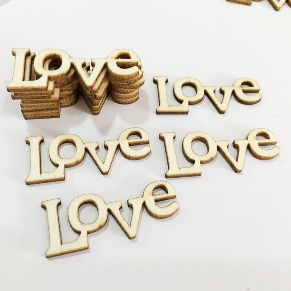 Party 50PCS Accessory Small Ornaments Home Scrapbooking Decoration Word Love Letter Handmade DIY Crafts Gift Wooden Letters DIY