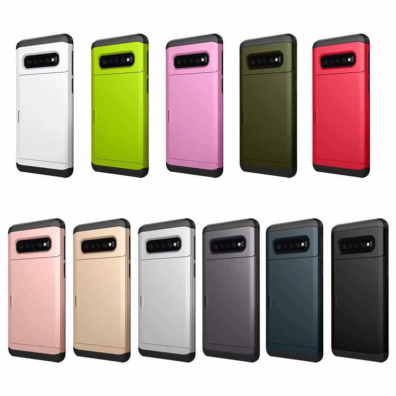For <font><b>Samsung</b></font> Galaxy S6 S7 edge <font><b>S10</b></font> S10e S9 S8 Plus Hybrid Tough Slide Wallet Card Storage <font><b>Armor</b></font> <font><b>Case</b></font> For Note 9 8 5 4 Coque Cover image