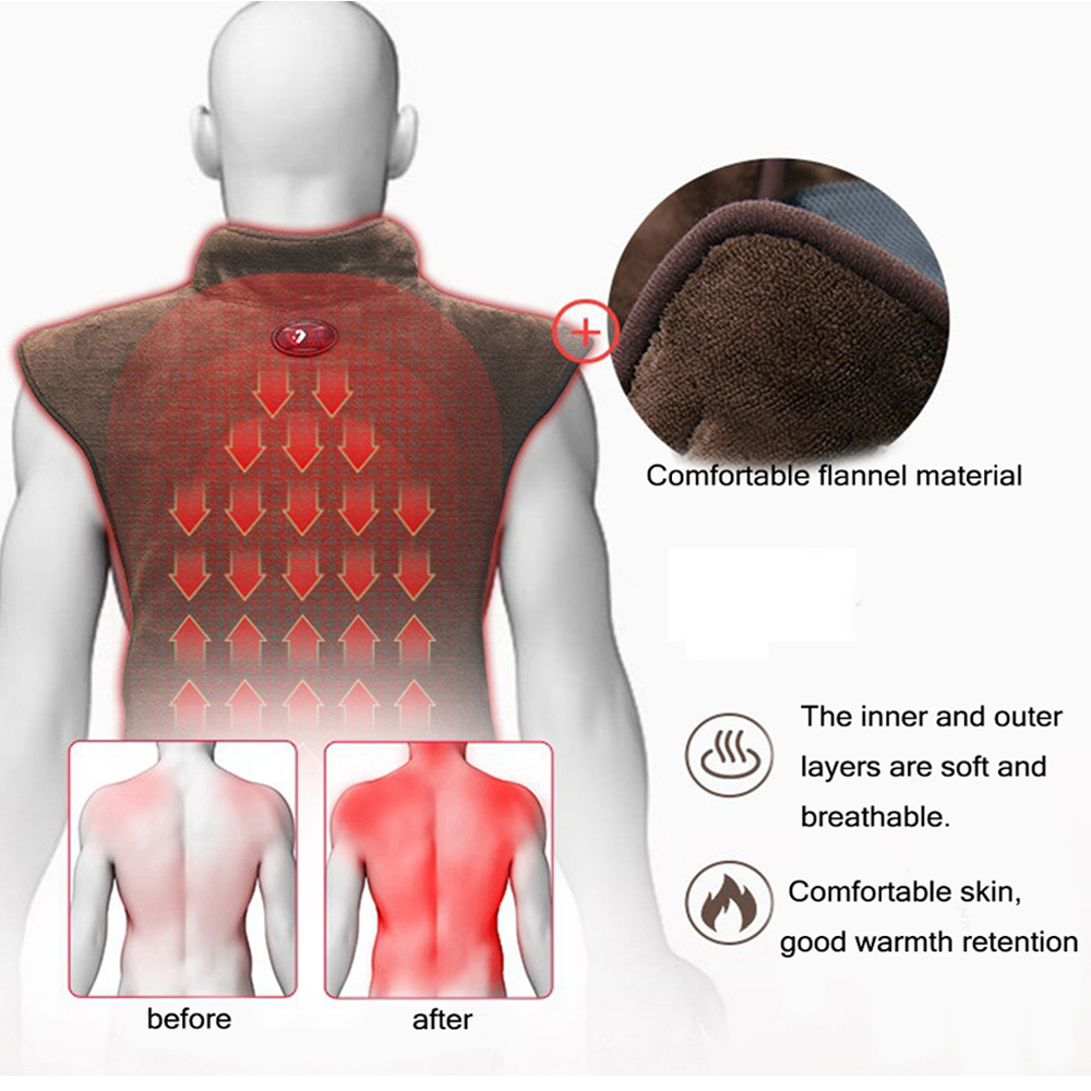 Electric Shawl Far infrared Heating Neck/Shoulder /Back Therapy Flannel Pad Circulation