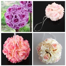 15x21cm Handmade Artificial Rose Flowers Kissing Hanging Ball DIY Bouquet Home Wedding Party Decor HG99