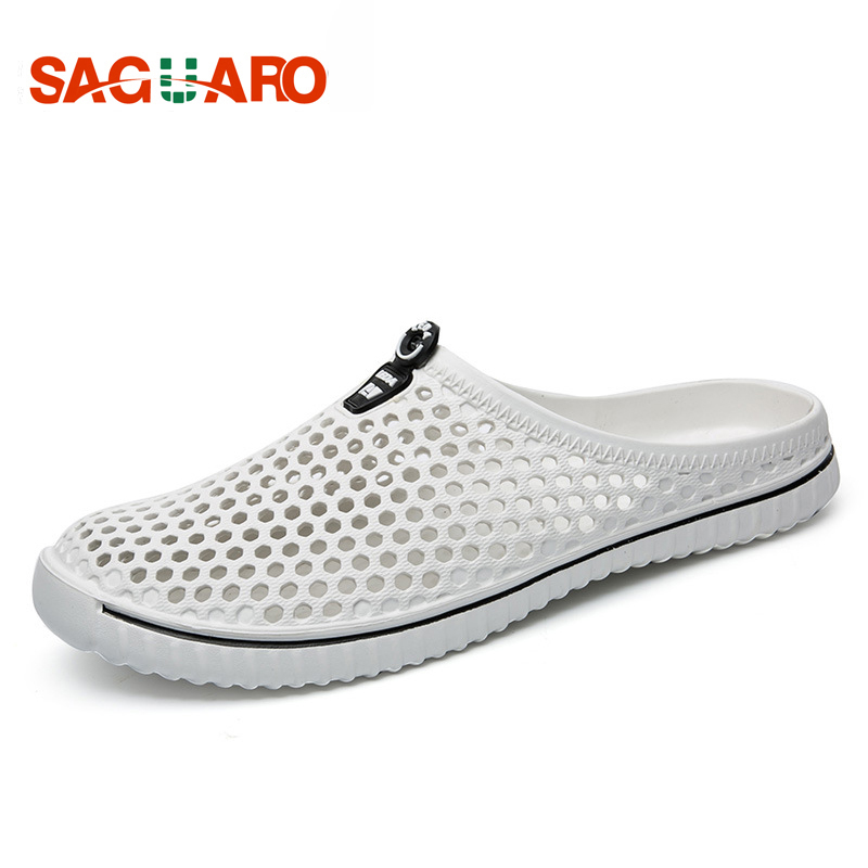SAGUARO 2019 Summer Slippers Men Hollow Out Breathable Beach Flip Flops Unisex Casual Slip-on Flats Sandals Men Shoes Zapatos