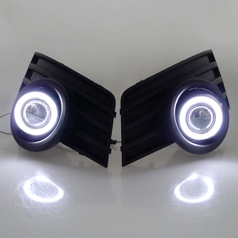 For Great Wall Hover H3 2009-2011 White Angel Eyes DRL Yellow Signal Light H11 Halogen / Xenon Fog Lights Projector Lens E13 car styling for volkswagen polo 2006 2010 led angel eyes drl yellow signal light h11 halogen fog lights with projector lens