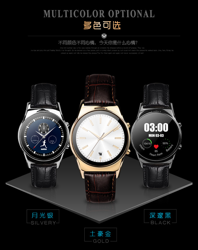 LW03 K18 Round font b Smartwatch b font Bluetooth Smart watch Leather Strap Stainless Steel WristWatches