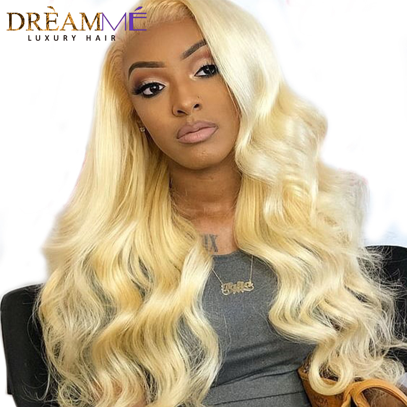 613 Blonde Full Lace Human Hair Wigs with Baby Hair Pre Pluched Body Wave Ombre Hair Wig Brazilian Remy Hair Wig With Combs-in Human Hair Lace Wigs from Hair Extensions & Wigs    1
