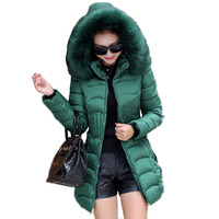 Female Winter Warm Hooded Women wadded jacket Cotton Padded Long Sleeve Pleated Wast Pockets Buttons Zipper Outwear Thick Coat