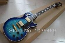 Benutzerdefinierte großhandel blue tiger streifen LP e-gitarre ems-freies verschiffen