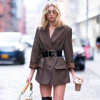 Elsa Hosk Fashion Designer Long Sleeve Dress Suit Jacket Women Casual Elegant Pockets Long Sleeve Coat Female Spring Autumn