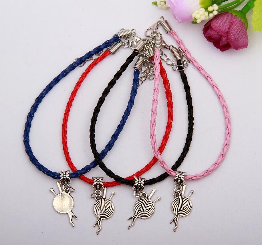 50pcs Zinc Alloy Silver Ball Of Yarn Charm Multicolor Braided Rope Protection Good Luck Bracelets DIY Jewelry For Women&Men N008