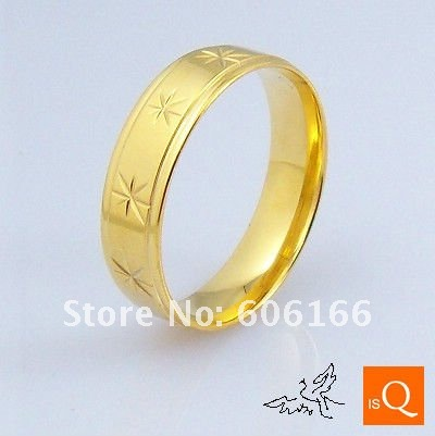 6mm 18K GP Gold Plated Ring Engraved Flowers High Polishing Comfort Fit Stainless Steel Rings Fashion Jewelry