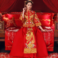 Vintage red Bridal Embroidery Cheongsam Modern Traditional Chinese style Wedding Dress Oriental Womens Qipao Plus Size S 5XL