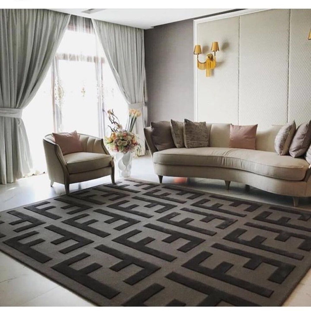 Black Grey Double FF Acrylic Soft Carpet Bedroom Living Room Hand Carved Rug Brand Logo Customized Color