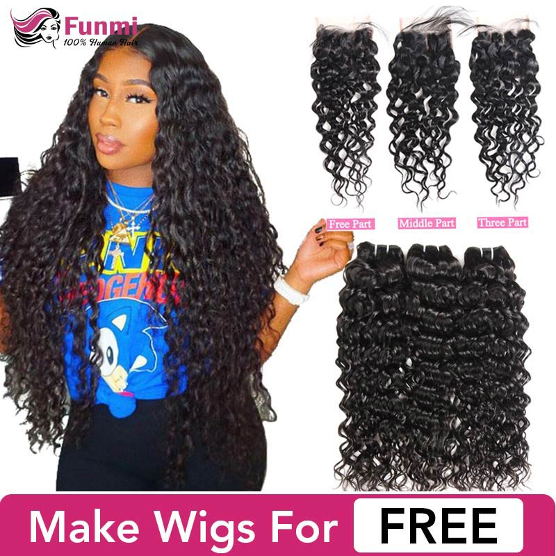 Raw Indian Hair Bundles With Closure Water Wave Bundles With Closure Funmi Virgin Human Hair Bundles With Closure Make Wig Free