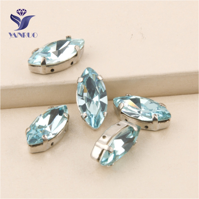 YANRUO #4200 All Sizes Light Aquamarine Navette Loose Beads Strass Sew On Crystal Glass Stones Pointed Back Rhinestone