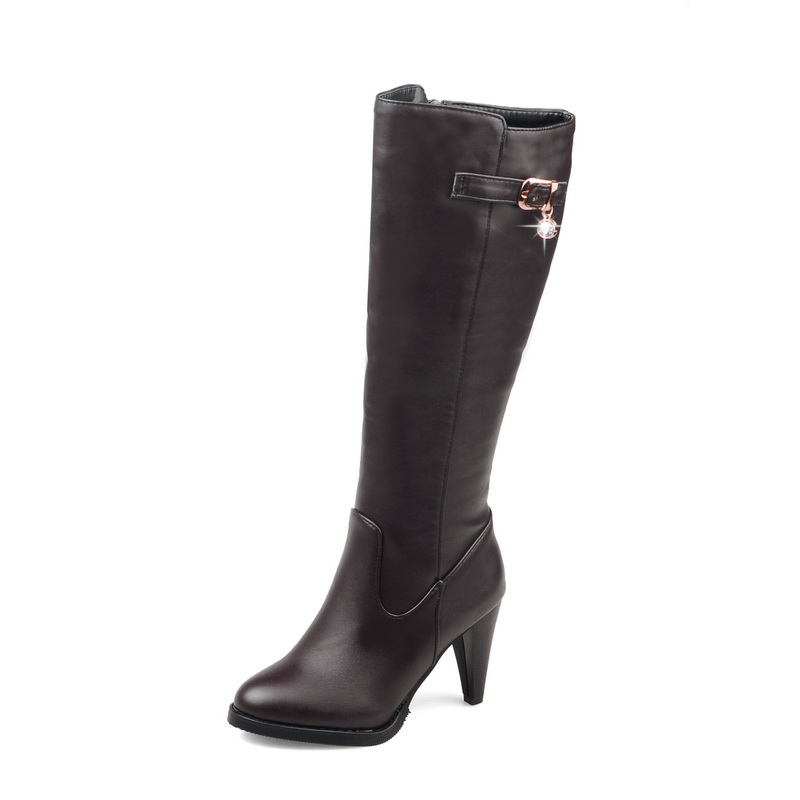 ENMAYER Top quality comfortable leather boots women  pointed toe thin heel lady high heels chunky boots Size34 43 ZYL133-in Knee-High Boots from Shoes    2