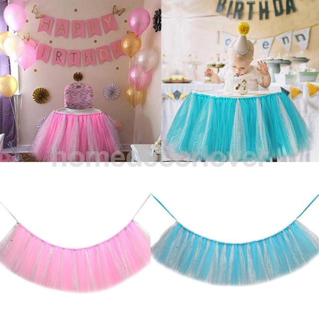 2 Unids Handmade Glitter Tulle Tutu Falda Silla Alta Decoracion Baby - Decoracion-baby-shower