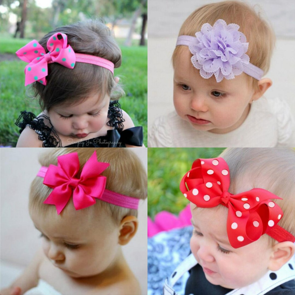 Headband Baby Girl Hair Bow Newborn Elastic Hair Band Kids Cute Children Hair Accessories Ribbon Head Band with Dot 2pcs/set 12pc set elastic hair rubber band children hair unicorn headband kids hair accessories gril hair band set cute unicorn cartoon