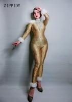 Новый дизайн с длинными рукавами Стразы Золотой растягивающийся костюм для женщин джаз танец Боди с перьями наряд вечернее шоу цельный