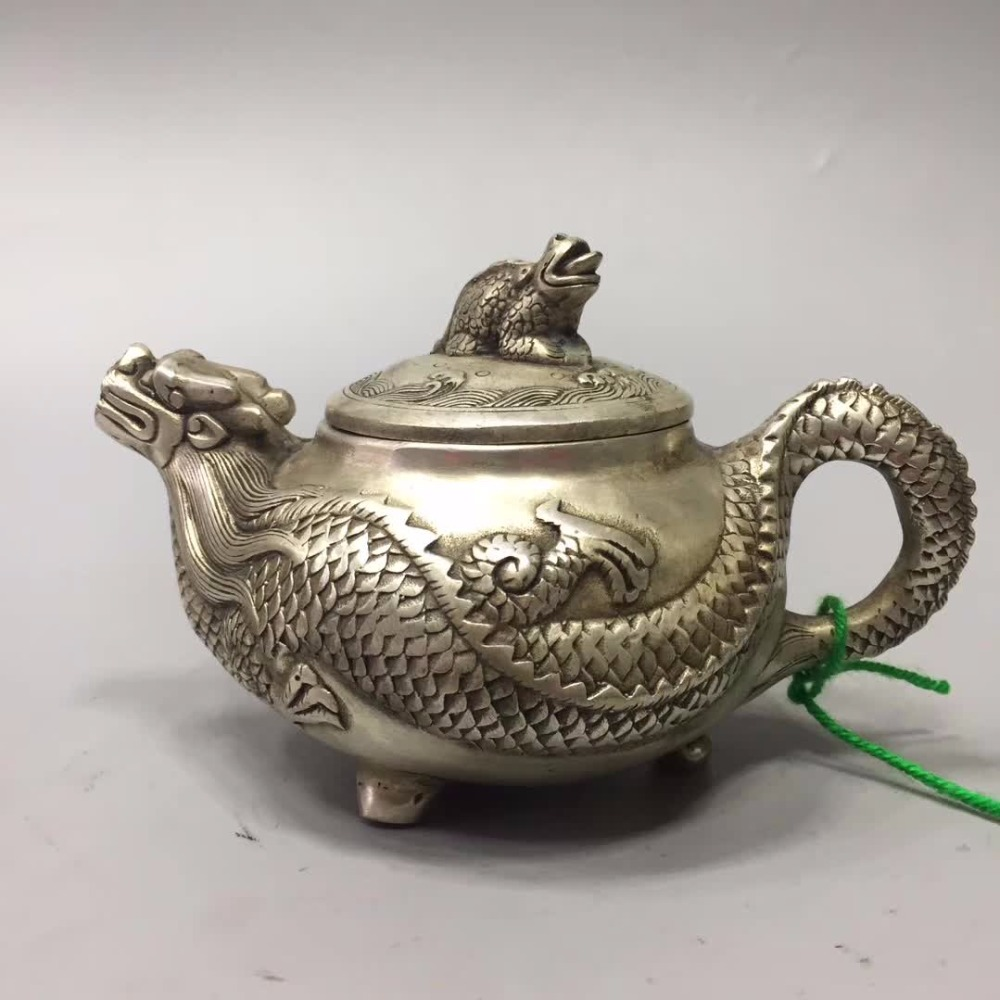 Rapture Home/desk Decoration Dragon Turtle Teapot Metal Crafts Ornaments Collection Tibet Silver Old Handmade Dragon Pot /chinese Antique Tea Pot For Improving Blood Circulation