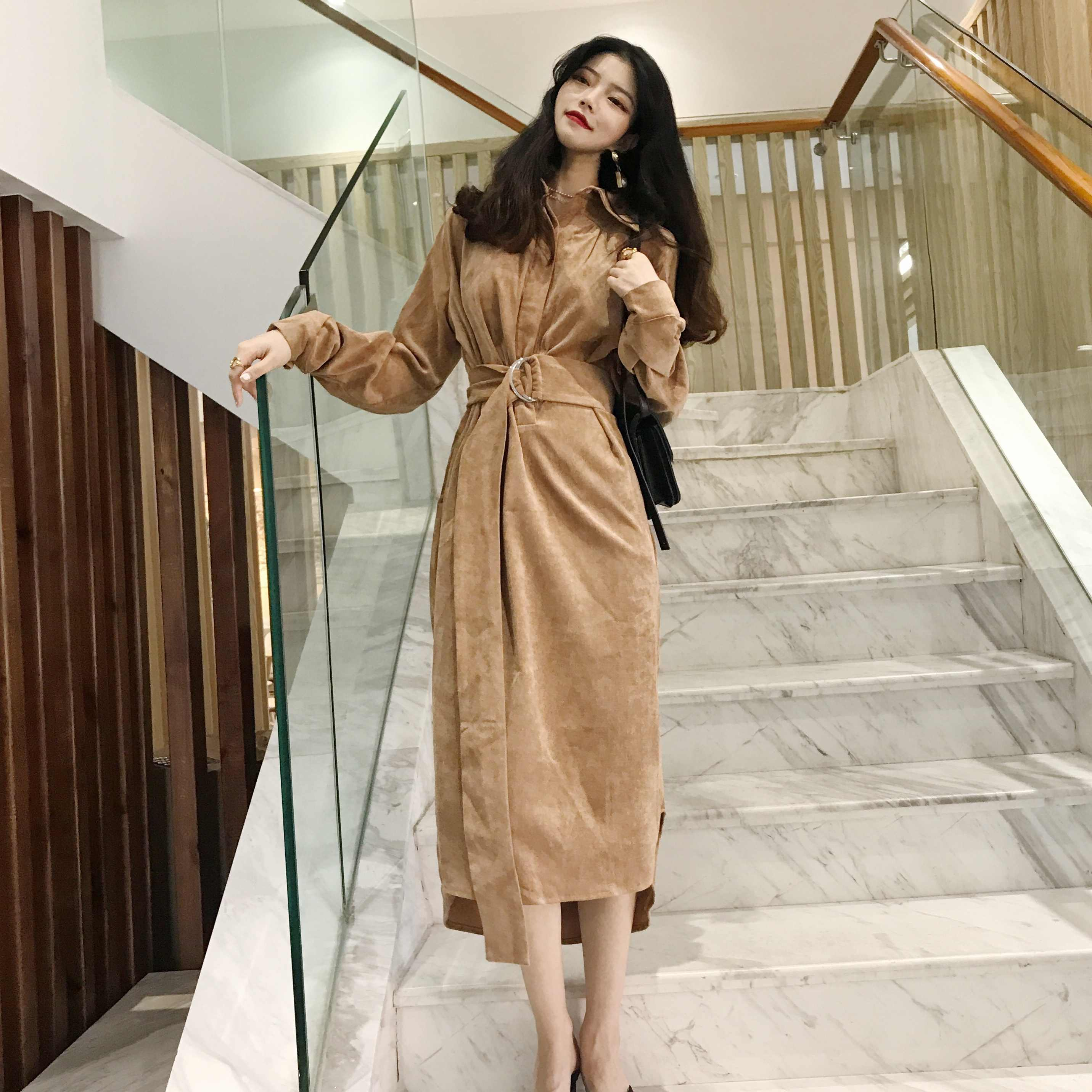 a987b5f00be ... Elegant Buckle Waist Belt Button Turndown Collar Corduroy Split Midi  Long Dress Korean Women Vintage Clothes ...