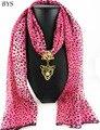 Китайские Шелковые Шарфы Дизайнеры Леопарда Шифоновые Шарфы Женщины Ювелирные Изделия Шарф Ожерелье с Кулоном Кисти Чешский