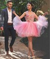 New Arrival 2016 Short Homecoming Dresses Ball Gown Handmade Flowers Tulle Plus Size Club Dresses Party Gowns