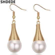 Vintage Long Earrings with Simulated Pearls Fashion Jewelry Wqter Drop White Imitation Pearl Earrings For Wome  *23002