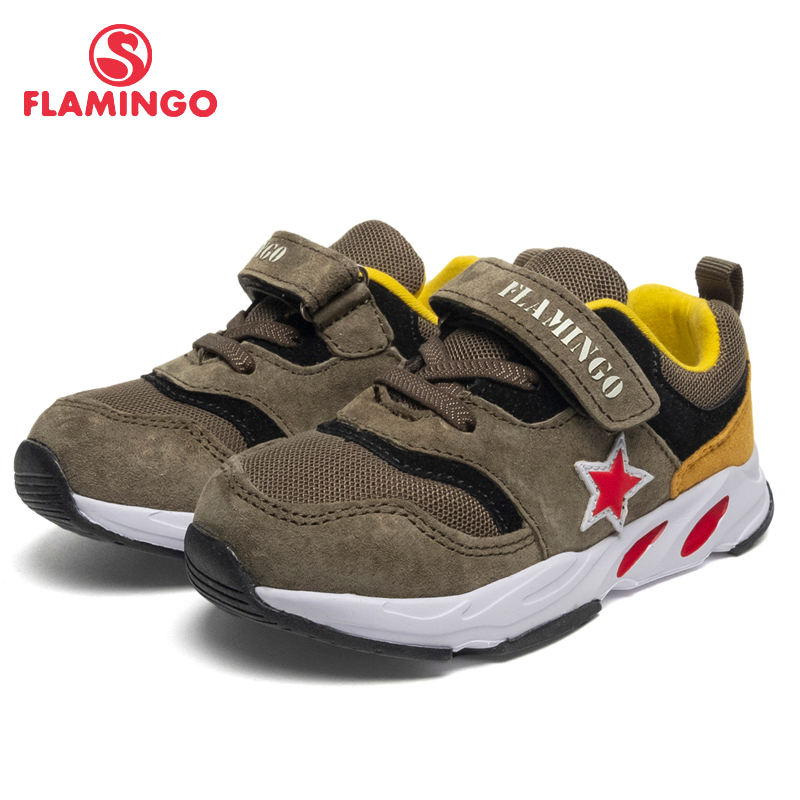 FLAMINGO Brand Breathable Arch Hook& Loop TPR Children Walking Shoes Leather Size 22-27 Kids Sneaker for Boy 91K-JL-1222 flamingo genuine leather insole breathable hook