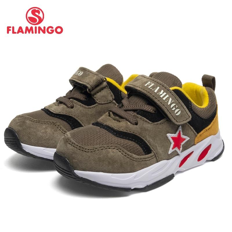 FLAMINGO Brand Breathable Arch Hook& Loop TPR Children Walking Shoes Leather Size 22-27 Kids Sneaker For Boy 91K-JL-1222
