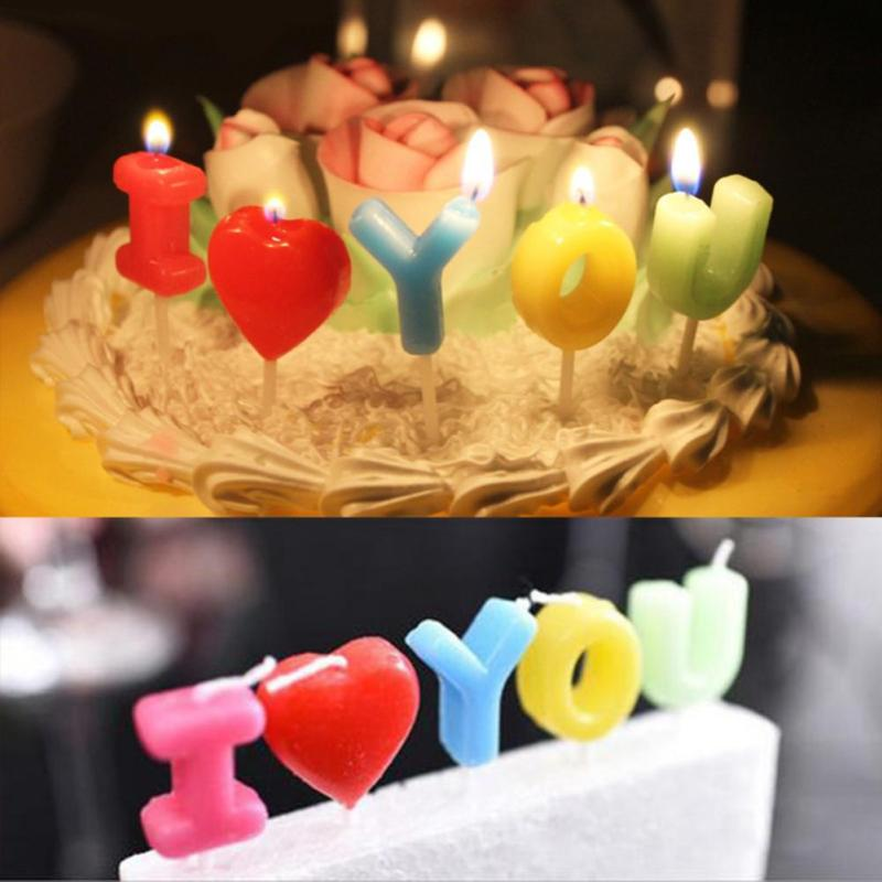Detail Feedback Questions About I Love You Letter Happy Birthday Candles Novelty Anniversary Wedding Romantic Toothpick Cake Party Decor 5