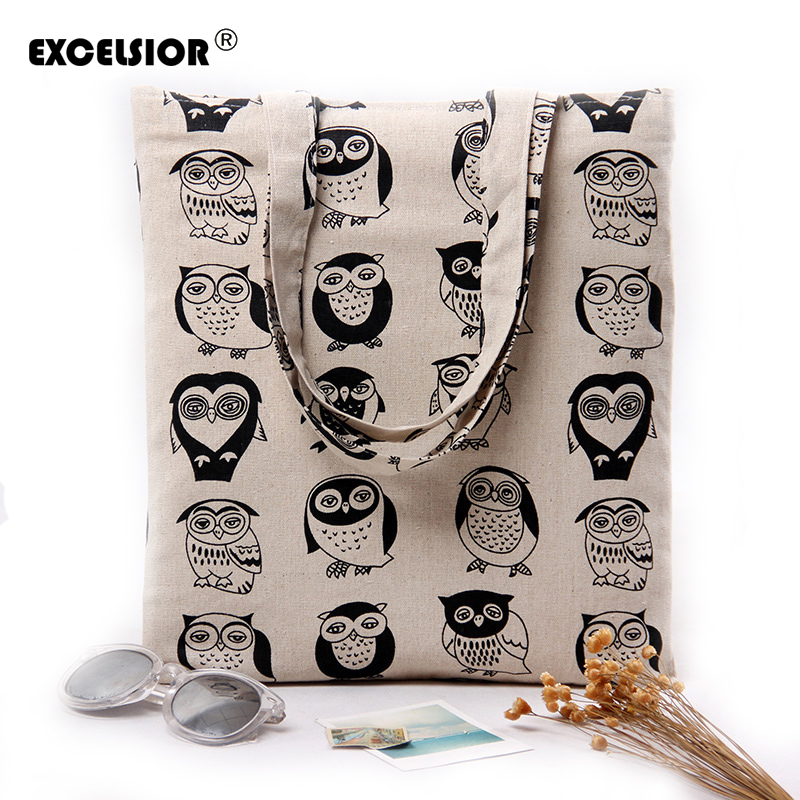 EXCELSIOR Women Cartoon Owl Printing Cotton Linen Beach Bag Handbag Female Casual Shopping Tote Bags Portable Open Shoulder Bag reusable cotton linen eco friendly shopping bag grocery tote shoulder handbag