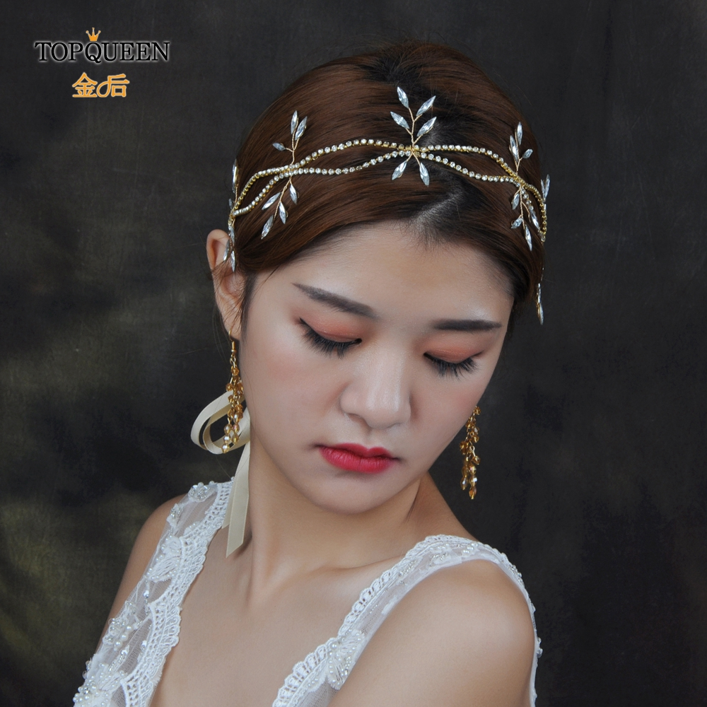 TOPQUEEN HP74  Lady Metal Gold Double-deck Head Chain And Spindle Shape Rhinestones Headband Bridal Wedding Hair Accessories