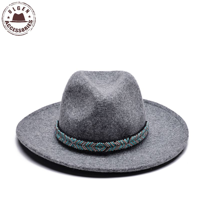 b6905731cd ULGEN Jewelry hat Vintage Bohemia women Winter hat wool mens fedora hat  womens cowboy panama hats large brim with jewelry band