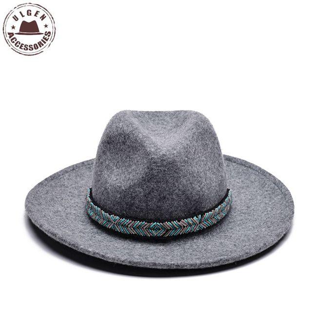 acd0836b3e6 ULGEN Jewelry hat Vintage Bohemia women Winter hat wool mens fedora hat  womens cowboy panama hats large brim with jewelry band