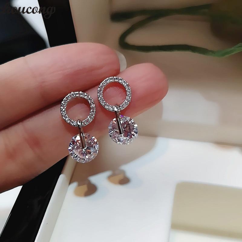 choucong Cute Drop earring 2ct AAAAA cz Real 925 Sterling silver Statement Party Wedding Dangle Earrings for women jewelry Gift