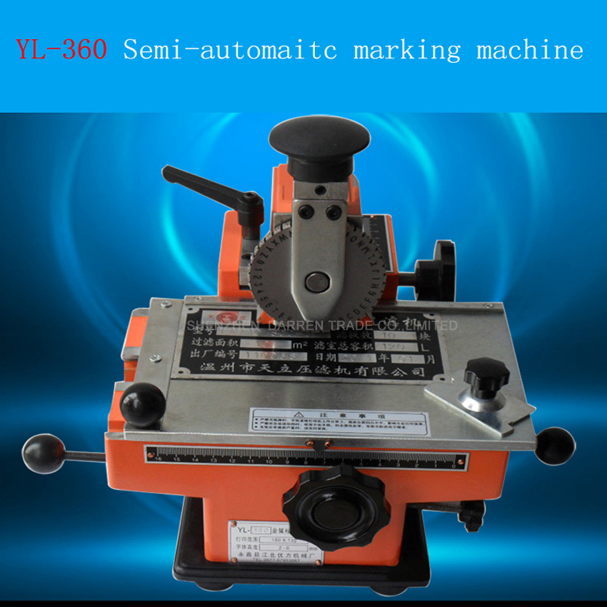 YL-360 Semi-automatic Metal label printer manual marking machine aluminum labeling coding machine Press machine manual metal bending machine press brake for making metal model diy s n 20012
