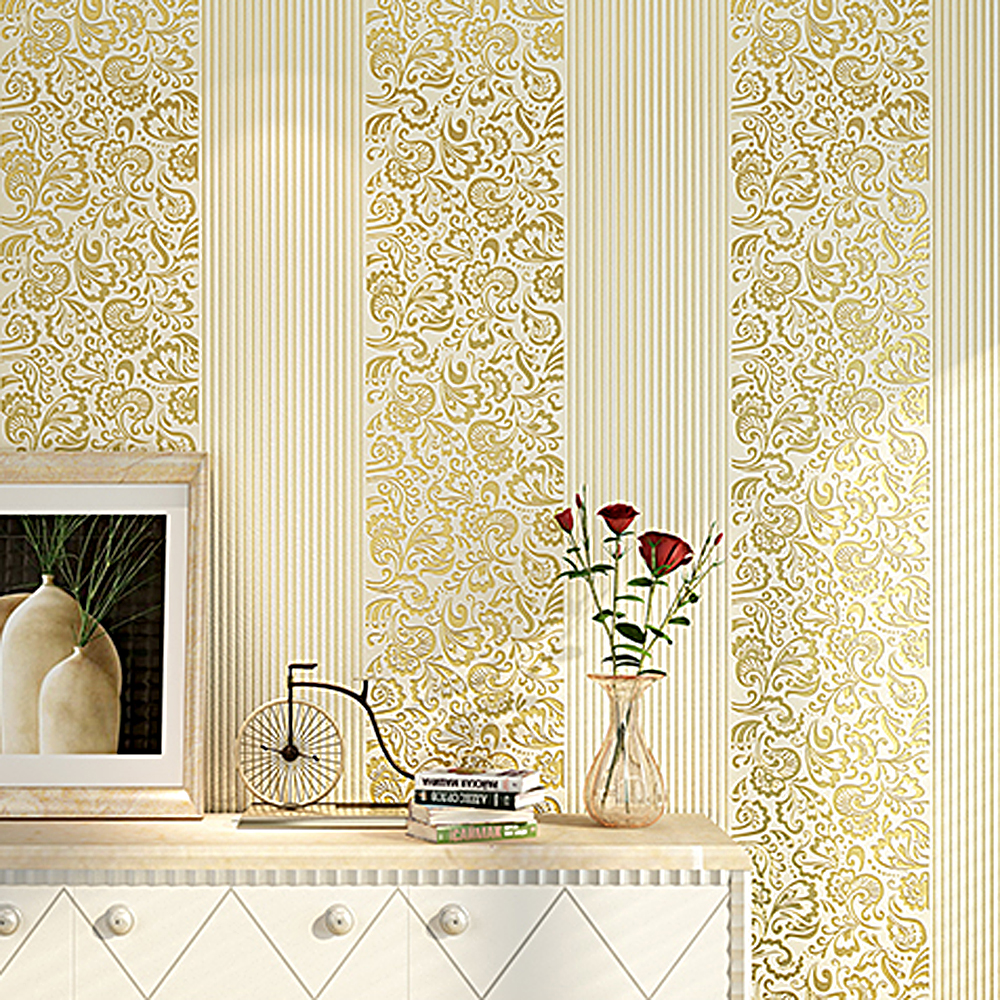 Beige Yellow Embossed Texture Floral Striped Wallpaper Roll For Wall Bedroom Modern Luxury Paper Home Decor Living Room In Wallpapers From