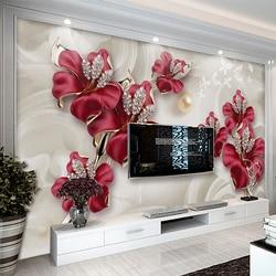 Пользовательские Настенные обои 3D стерео рельефные цветы ювелирные изделия фото настенная живопись Гостиная ТВ диван фон обои домашний де...