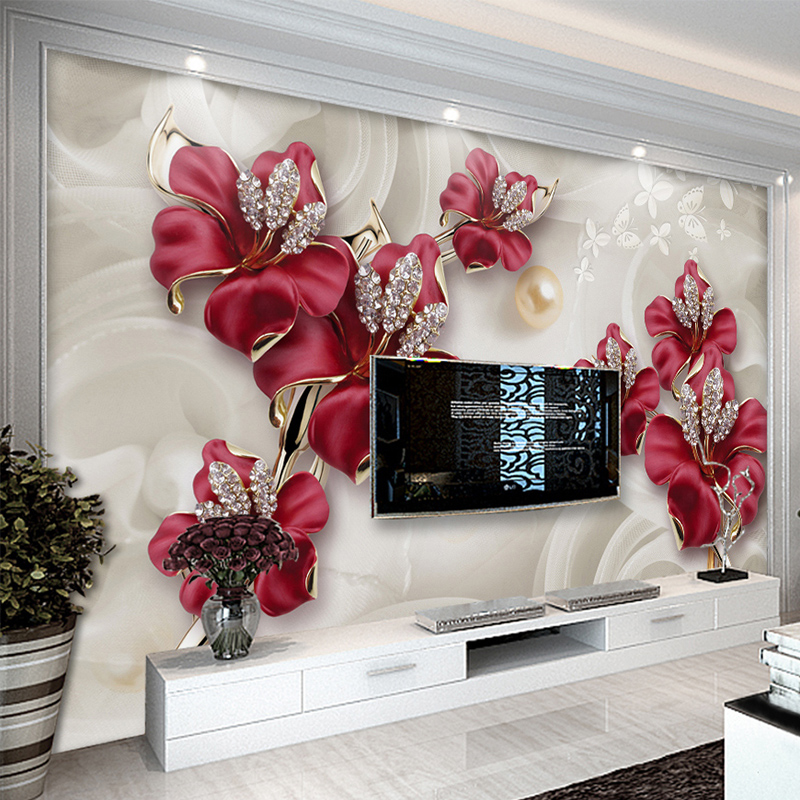 Custom Mural Wallpaper 3d Stereo Relief Flowers Jewelry