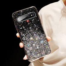 Luxury Glitter Bling Powder Sequins Soft TPU Case For Samsung Galaxy S10 S9 S8 Plus Transparent Silicon Phone Cover Coque
