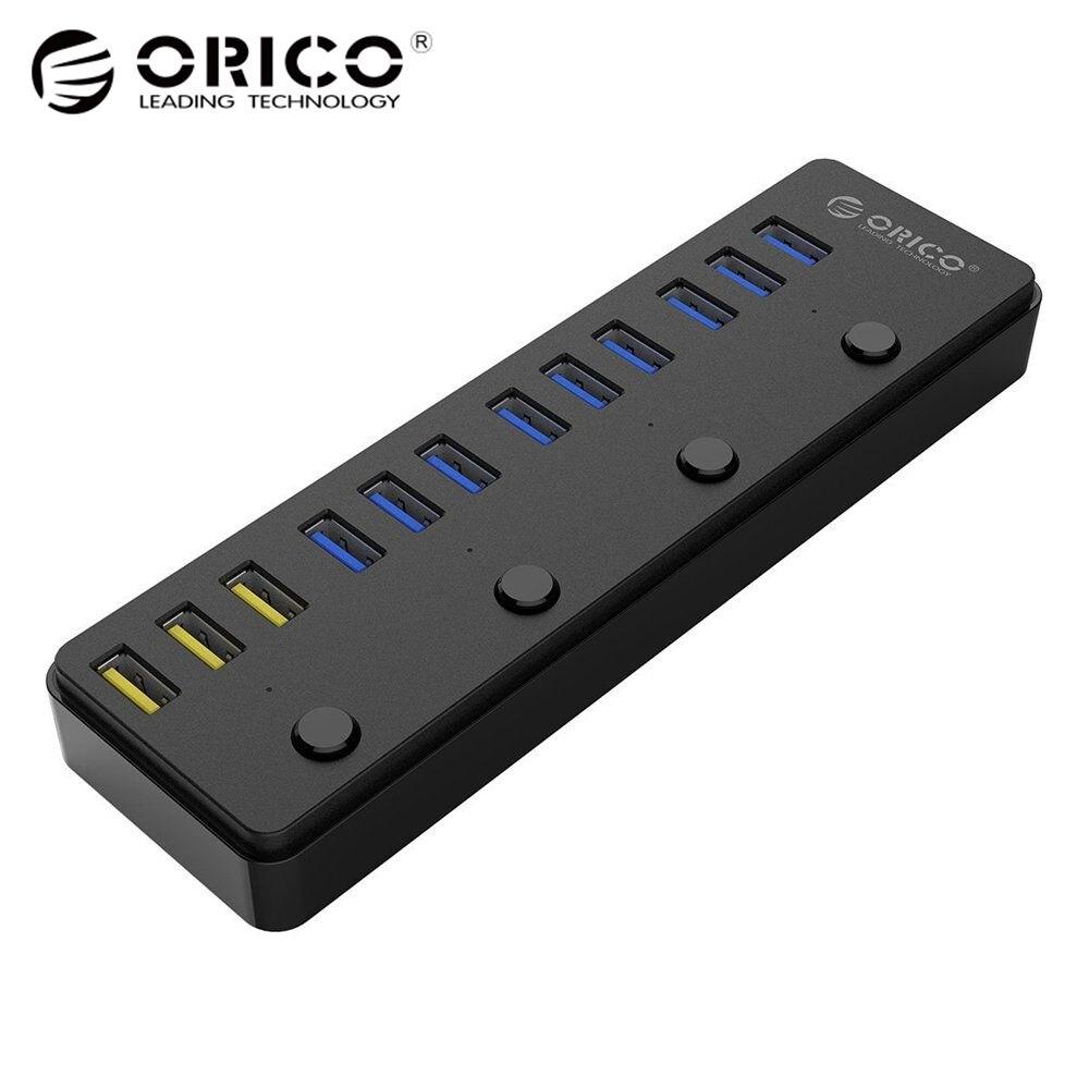 ORICO 60 Вт 12 Порты и разъёмы USB 3,0 концентратор в том числе 3 BC1.2 зарядки Порты и разъёмы и 4 Мощность коммутаторы светодиодный индикаторы